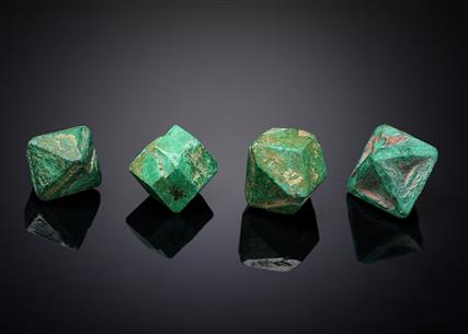 Malachite coating Cuprite (4 loose crystals)