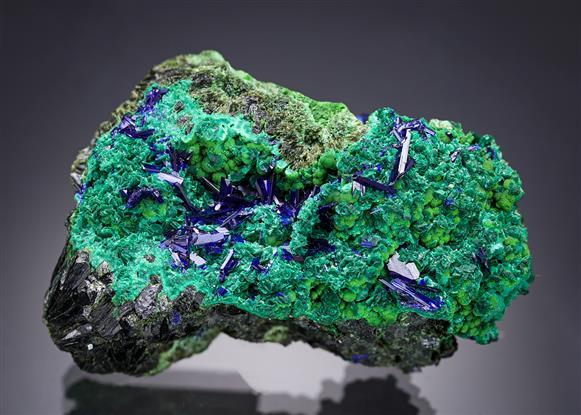 Azurite with Olivenite, Malachite and Arsentsumebite