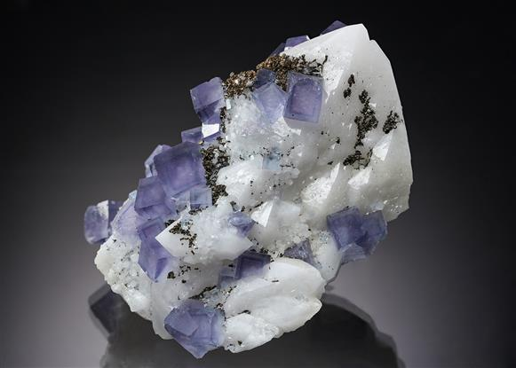 Fluorite with Pyrite and Quartz
