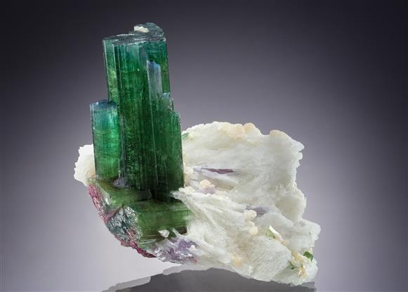 Elbaite (Tourmaline) on Quartz with Lepidolite