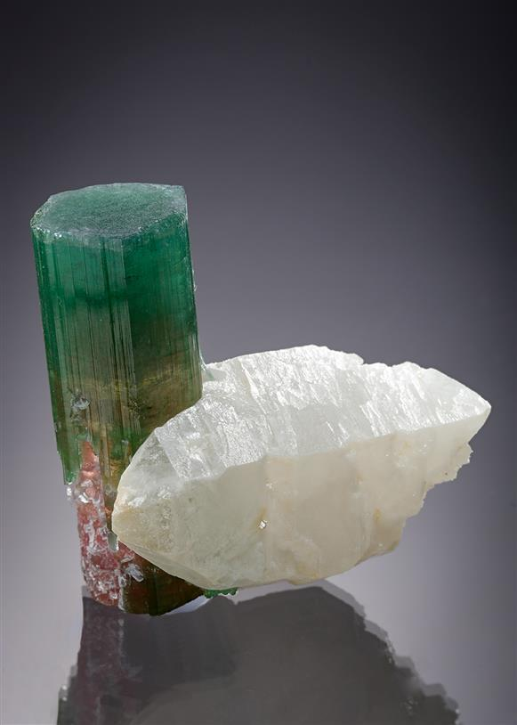 Elbaite (Tourmaline) on Quartz