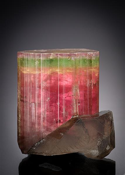 Elbaite (Tourmaline) with Smoky Quartz