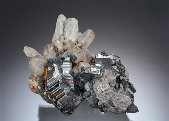 Bournonite and Freibergite on Quartz