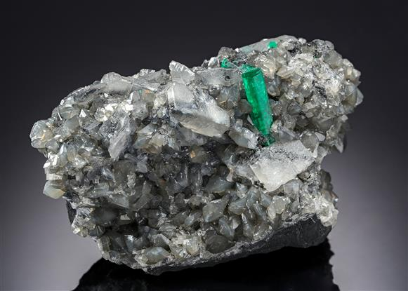 Beryl variety Emerald with Calcite