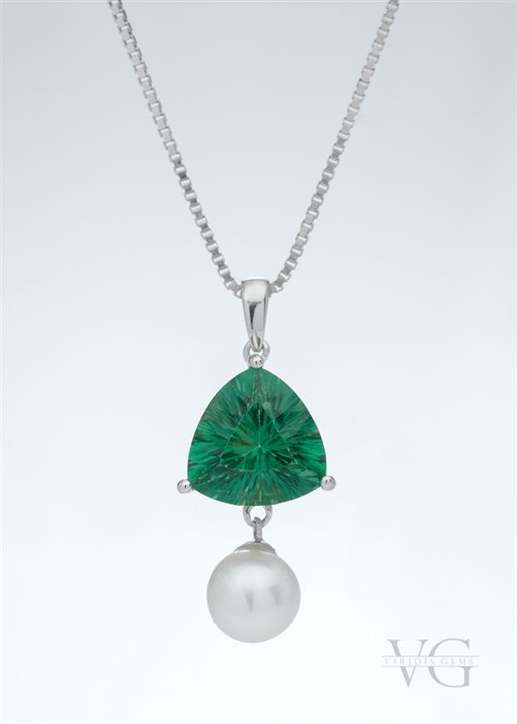 Fluorite, Pearl and Sterling Silver pendant
