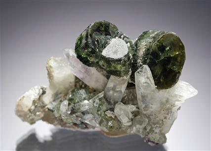 Fluorapatite with Fluorite on Quartz