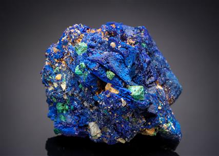 Malachite on Cuprite on Azurite
