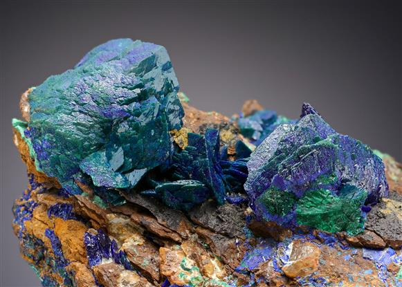 Azurite with Malachite