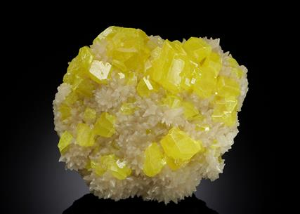 Native Sulphur with Aragonite