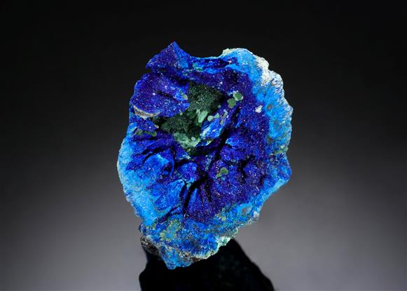 Azurite with Zincolivenite